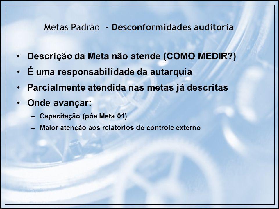 Descrição da Meta não atende (COMO MEDIR?) É uma responsabilidade da autarquia Parcialmente atendida nas metas já descritas Onde avançar: –Capacitação