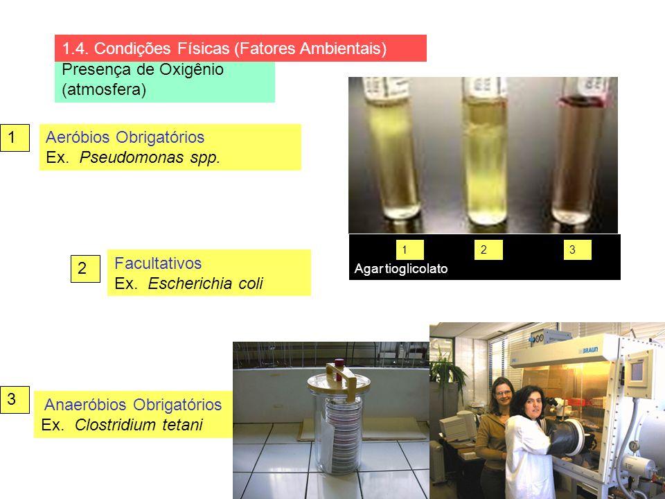 Presença de Oxigênio (atmosfera) Aeróbios Obrigatórios Ex. Pseudomonas spp. Facultativos Ex. Escherichia coli Anaeróbios Obrigatórios Ex. Clostridium