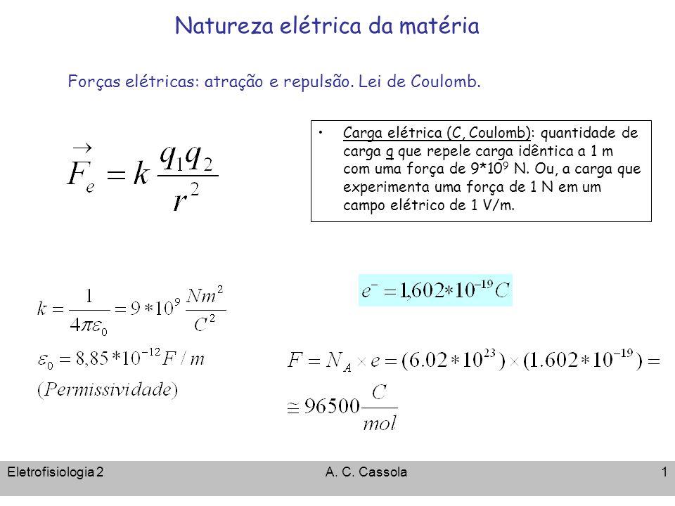 Eletrofisiologia 2A.C. Cassola1 Natureza elétrica da matéria Forças elétricas: atração e repulsão.