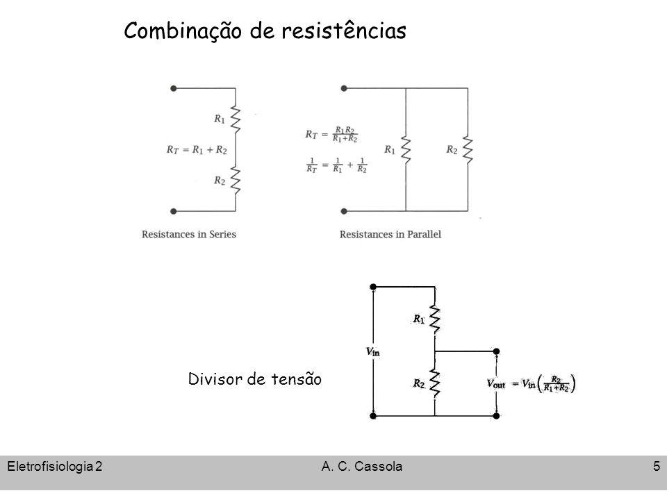 Eletrofisiologia 2A. C. Cassola5 Combinação de resistências Divisor de tensão