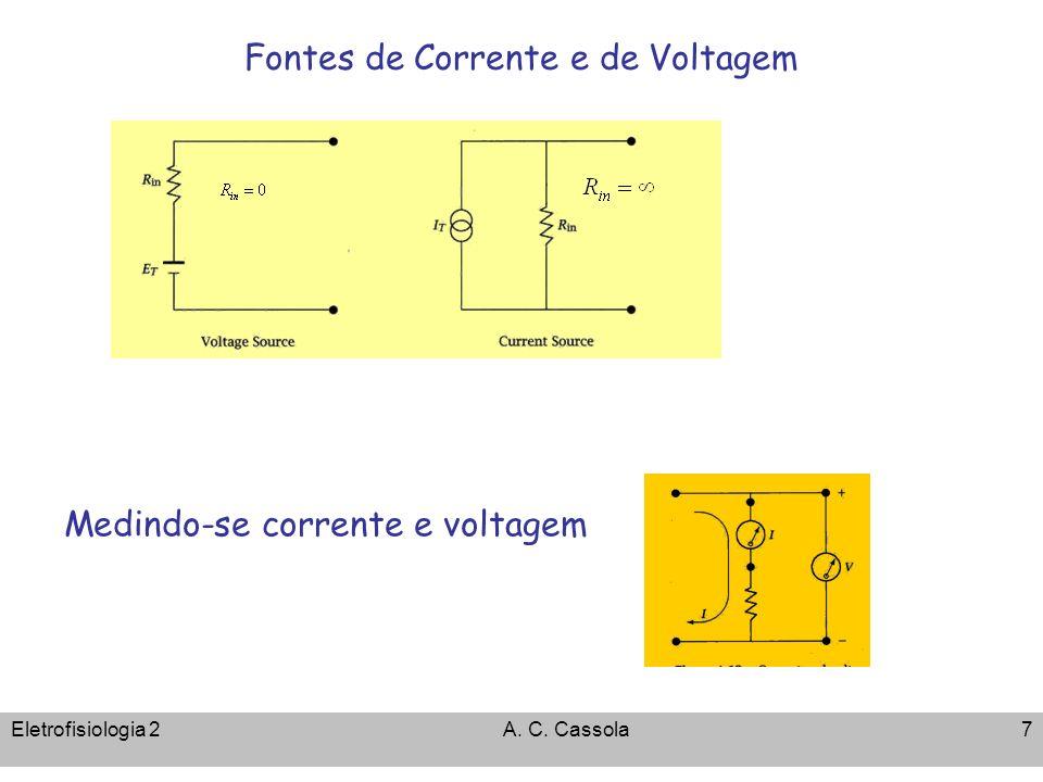 Eletrofisiologia 2A. C. Cassola7 Fontes de Corrente e de Voltagem Medindo-se corrente e voltagem