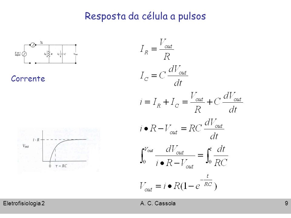 Eletrofisiologia 2A. C. Cassola10 Respostas de elementos de circuitos