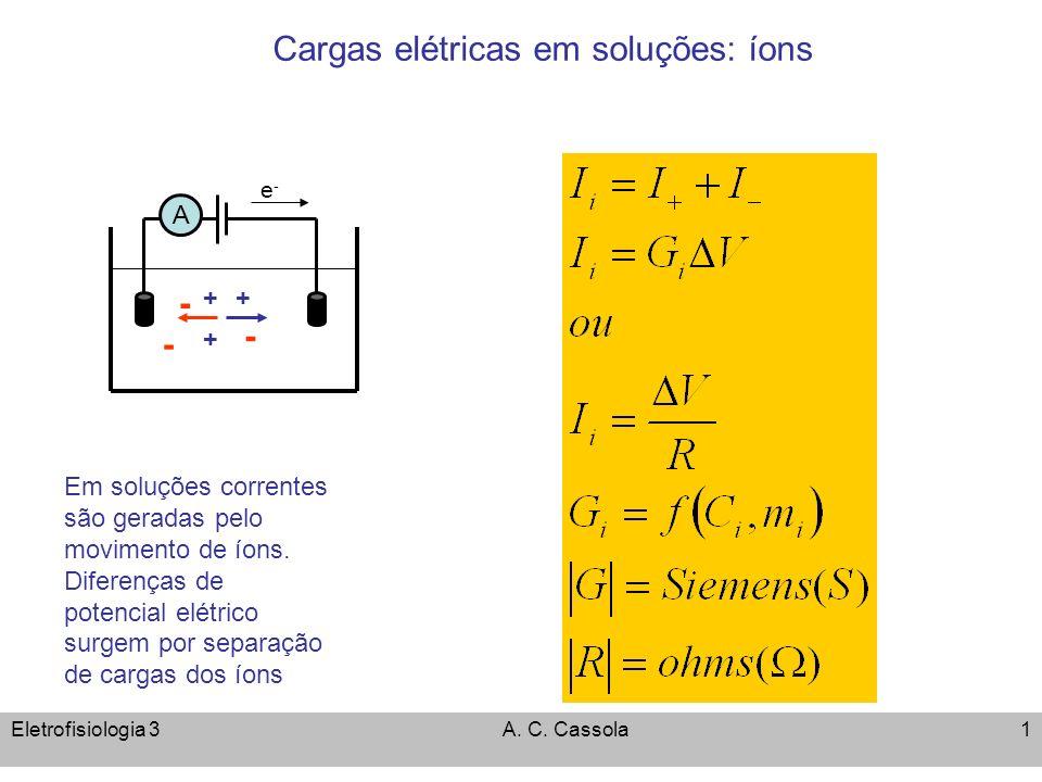 Eletrofisiologia 3A. C. Cassola1 Cargas elétricas em soluções: íons e-e- + - - - + + Em soluções correntes são geradas pelo movimento de íons. Diferen