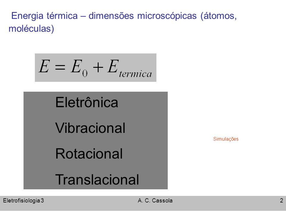 Eletrofisiologia 3A. C. Cassola2 Energia térmica – dimensões microscópicas (átomos, moléculas) Eletrônica Vibracional Rotacional Translacional Simulaç