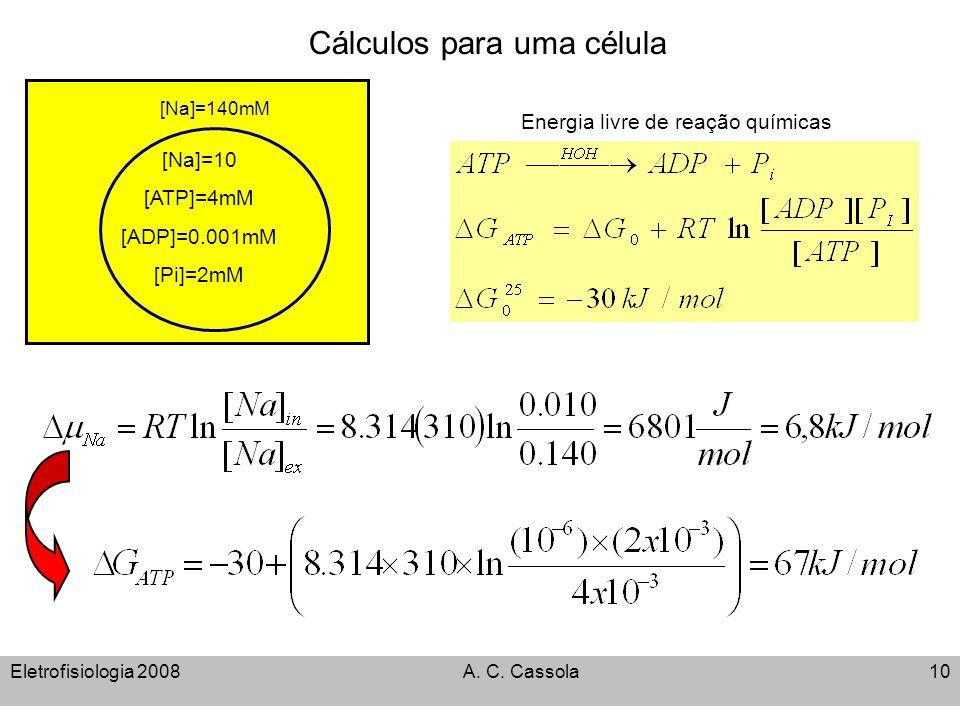 Eletrofisiologia 2008A. C. Cassola10 [Na]=10 [ATP]=4mM [ADP]=0.001mM [Pi]=2mM [Na]=140mM Cálculos para uma célula Energia livre de reação químicas