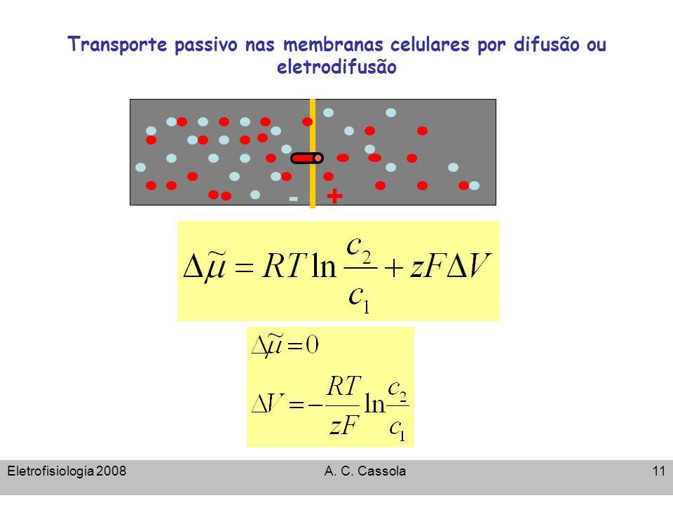 Eletrofisiologia 2008A. C. Cassola11 Transporte passivo nas membranas celulares por difusão ou eletrodifusão -+