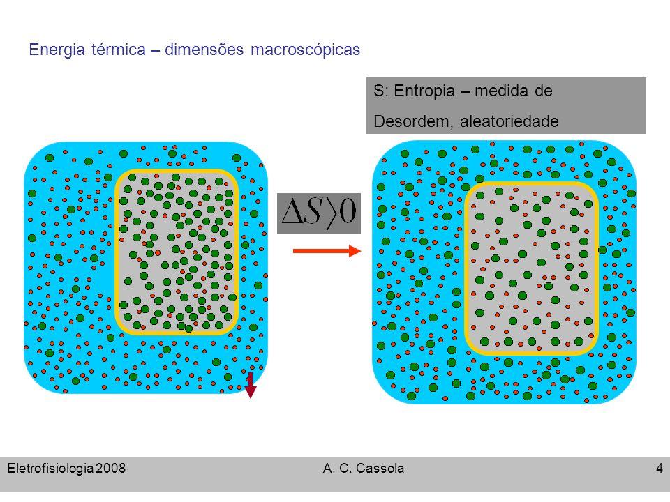 Eletrofisiologia 2008A. C. Cassola4 q Energia térmica – dimensões macroscópicas S: Entropia – medida de Desordem, aleatoriedade