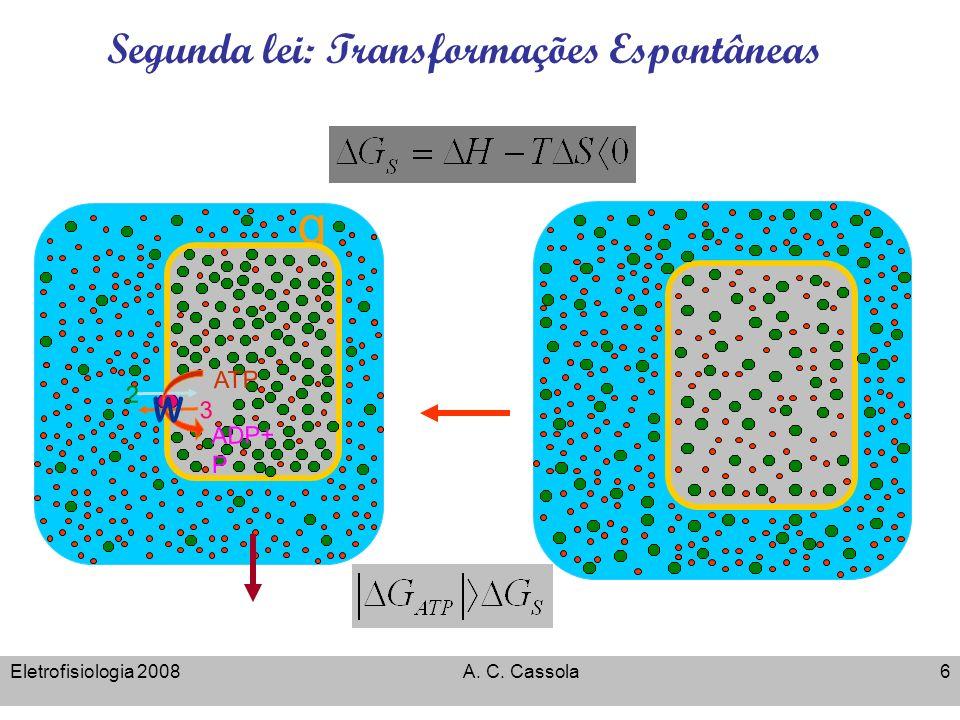 Eletrofisiologia 2008A. C. Cassola6 Segunda lei: Transformações Espontâneas Energia Livre de Gibbs q 3 2 ADP+ P ATP w