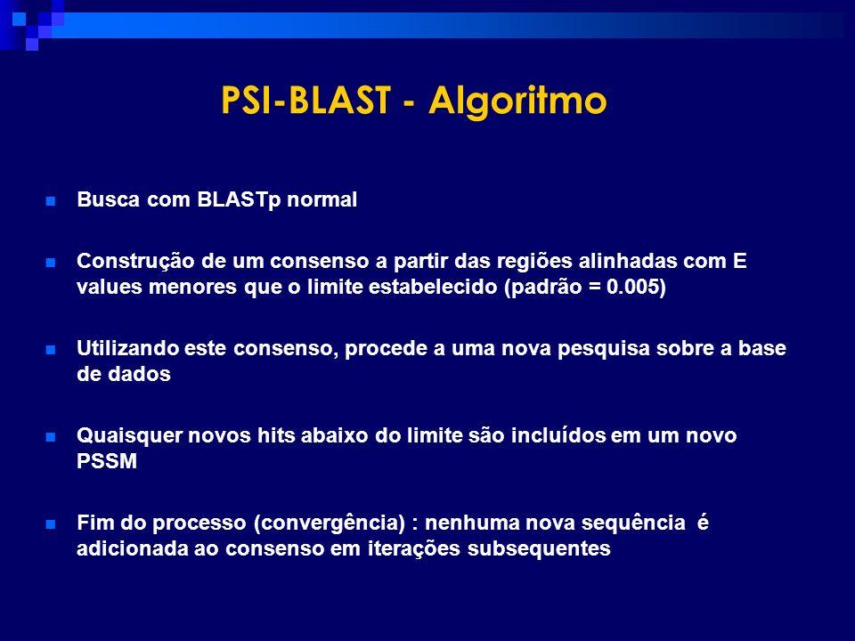 PSI-BLAST - Algoritmo Busca com BLASTp normal Construção de um consenso a partir das regiões alinhadas com E values menores que o limite estabelecido