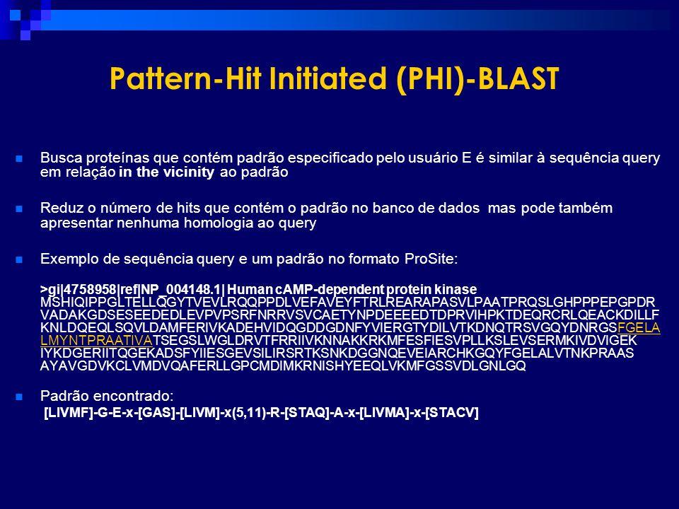 Pattern-Hit Initiated (PHI)-BLAST Busca proteínas que contém padrão especificado pelo usuário E é similar à sequência query em relação in the vicinity