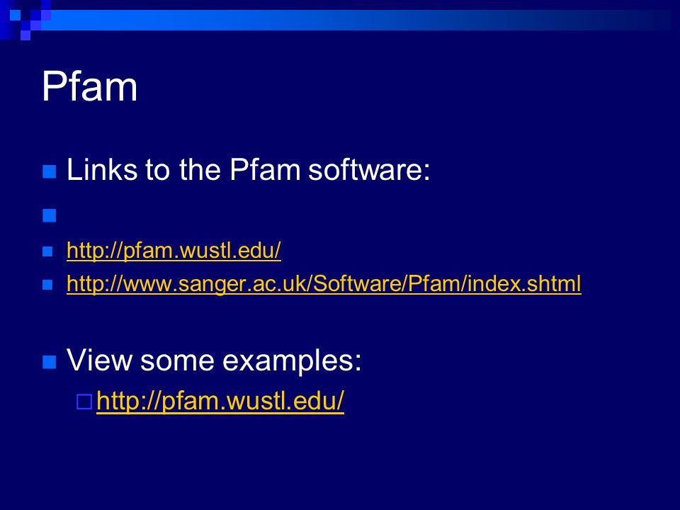 Pfam Links to the Pfam software: http://pfam.wustl.edu/ http://www.sanger.ac.uk/Software/Pfam/index.shtml View some examples: http://pfam.wustl.edu/