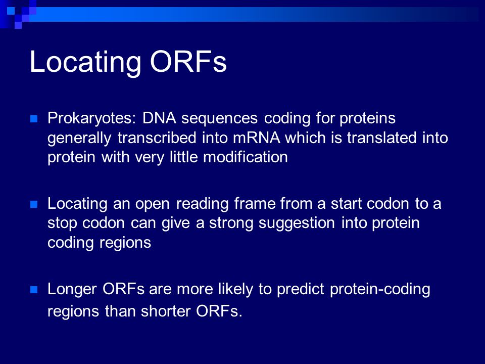 Locating ORFs Prokaryotes: DNA sequences coding for proteins generally transcribed into mRNA which is translated into protein with very little modific