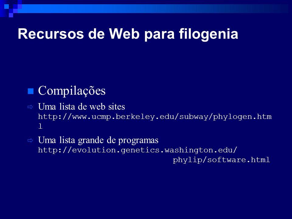 Compilações Uma lista de web sites http://www.ucmp.berkeley.edu/subway/phylogen.htm l Uma lista grande de programas http://evolution.genetics.washingt
