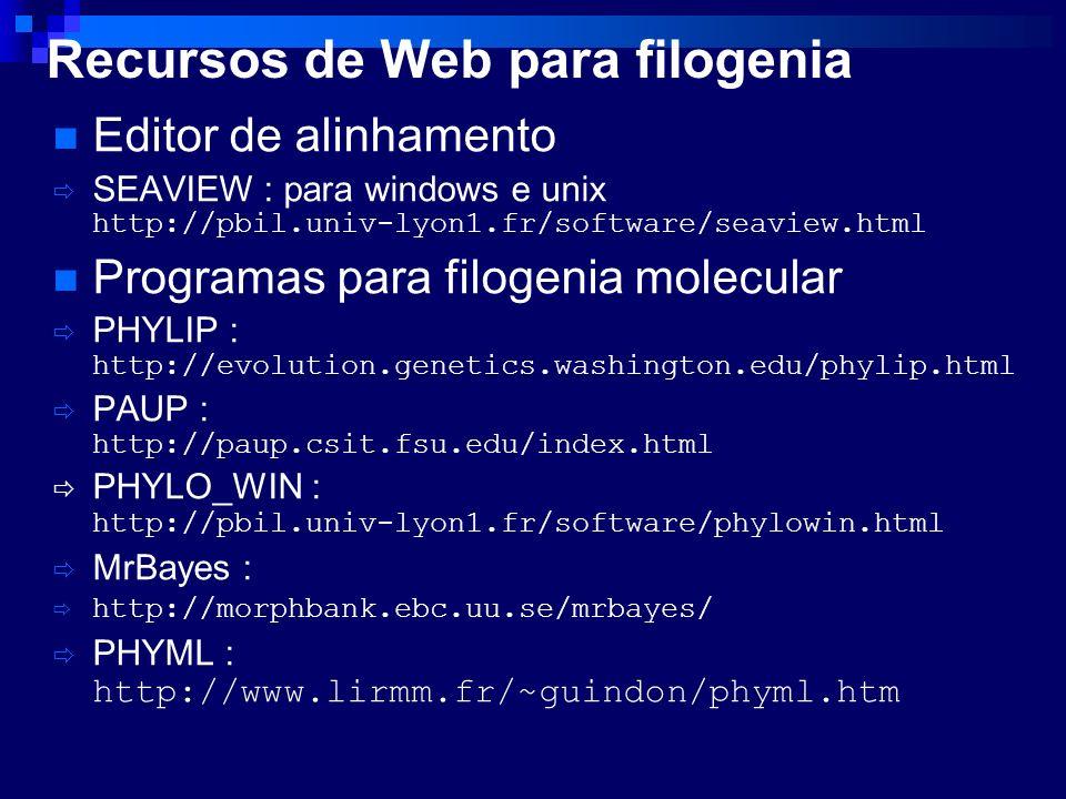 Editor de alinhamento SEAVIEW : para windows e unix http://pbil.univ-lyon1.fr/software/seaview.html Programas para filogenia molecular PHYLIP : http:/