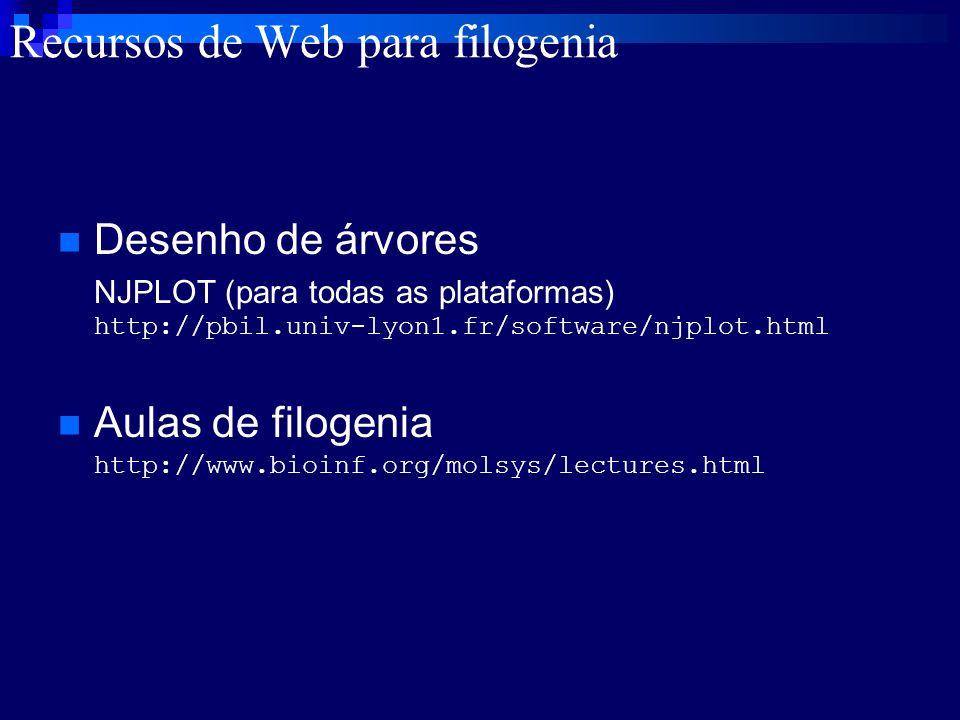 Desenho de árvores NJPLOT (para todas as plataformas) http://pbil.univ-lyon1.fr/software/njplot.html Aulas de filogenia http://www.bioinf.org/molsys/l