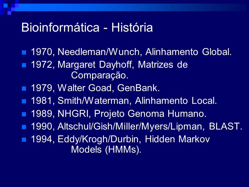 Bioinformática - História 1970, Needleman/Wunch, Alinhamento Global. 1972, Margaret Dayhoff, Matrizes de Comparação. 1979, Walter Goad, GenBank. 1981,