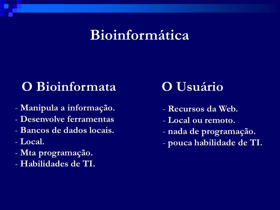 Bioinformática O BioinformataO Usuário - Manipula a informação. - Desenvolve ferramentas - Bancos de dados locais. - Local. - Mta programação. - Habil