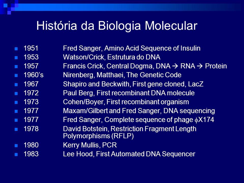 História da Biologia Molecular 1951Fred Sanger, Amino Acid Sequence of Insulin 1953Watson/Crick, Estrutura do DNA 1957 Francis Crick, Central Dogma, D