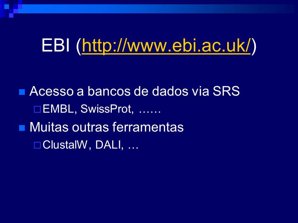 EBI (http://www.ebi.ac.uk/)http://www.ebi.ac.uk/ Acesso a bancos de dados via SRS EMBL, SwissProt, …… Muitas outras ferramentas ClustalW, DALI, …
