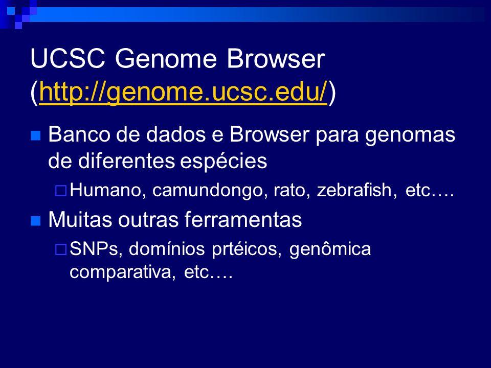 UCSC Genome Browser (http://genome.ucsc.edu/)http://genome.ucsc.edu/ Banco de dados e Browser para genomas de diferentes espécies Humano, camundongo,
