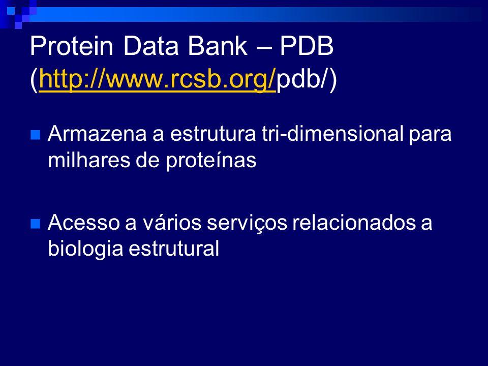 Protein Data Bank – PDB (http://www.rcsb.org/pdb/)http://www.rcsb.org/ Armazena a estrutura tri-dimensional para milhares de proteínas Acesso a vários