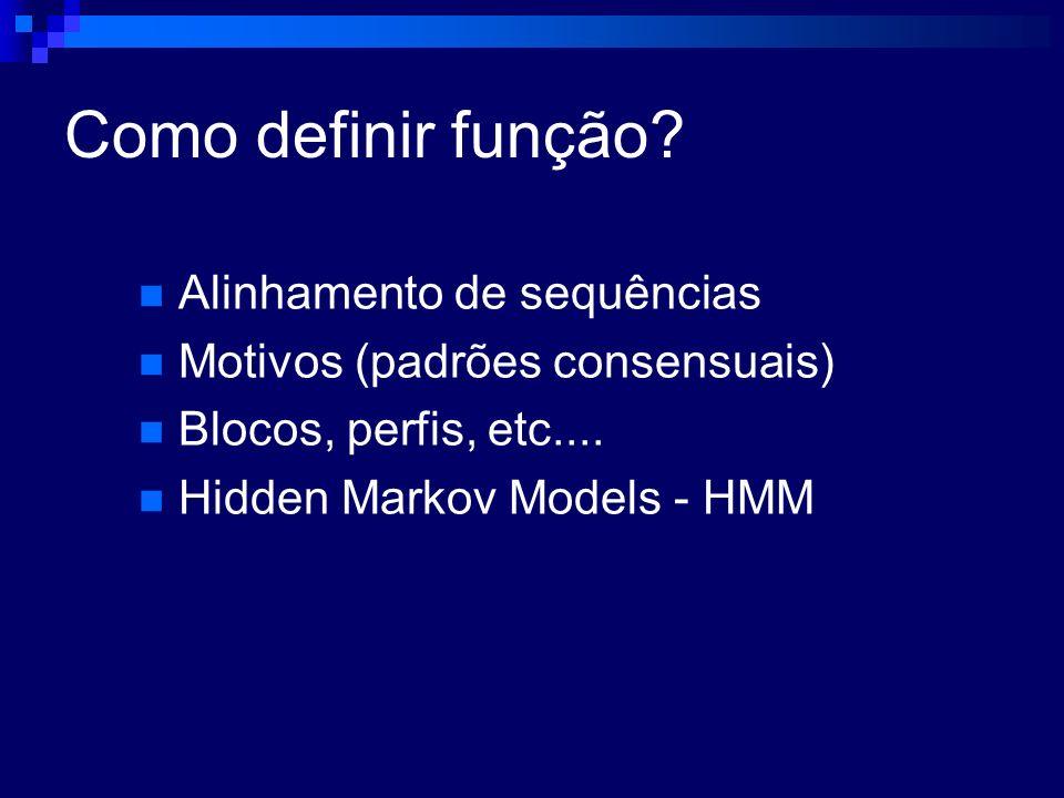 Como definir função? Alinhamento de sequências Motivos (padrões consensuais) Blocos, perfis, etc.... Hidden Markov Models - HMM