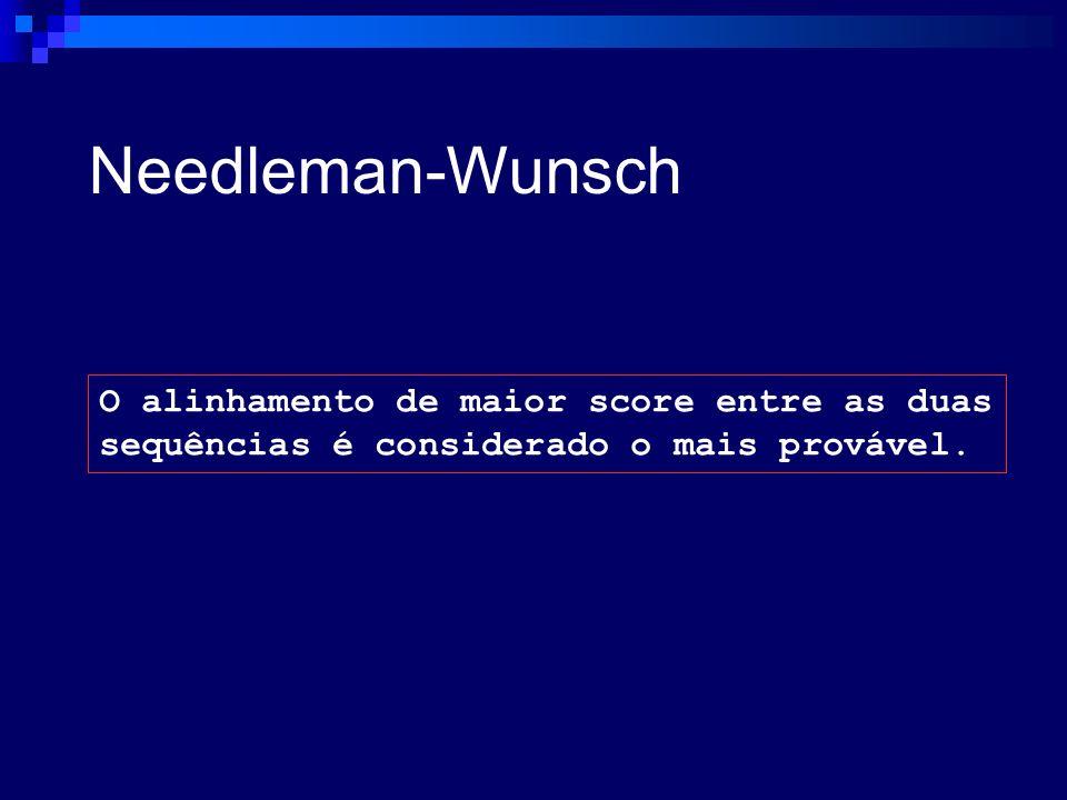 Needleman-Wunsch O alinhamento de maior score entre as duas sequências é considerado o mais provável.