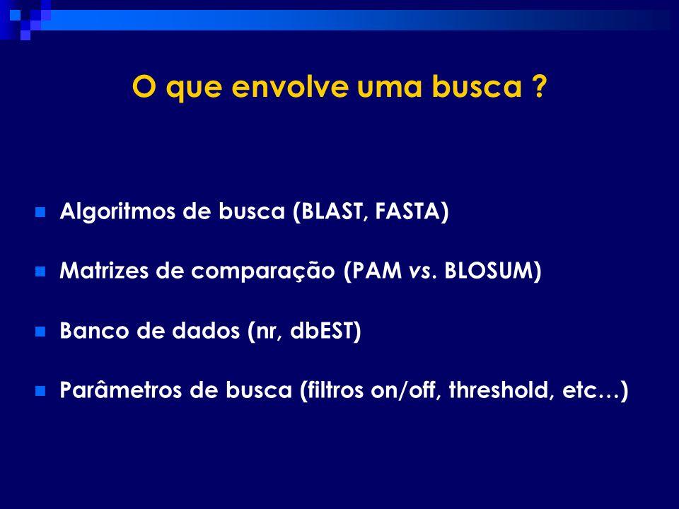 O que envolve uma busca ? Algoritmos de busca (BLAST, FASTA) Matrizes de comparação (PAM vs. BLOSUM) Banco de dados (nr, dbEST) Parâmetros de busca (f