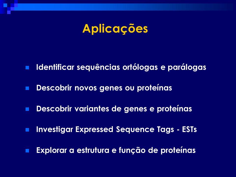 Aplicações Identificar sequências ortólogas e parálogas Descobrir novos genes ou proteínas Descobrir variantes de genes e proteínas Investigar Express