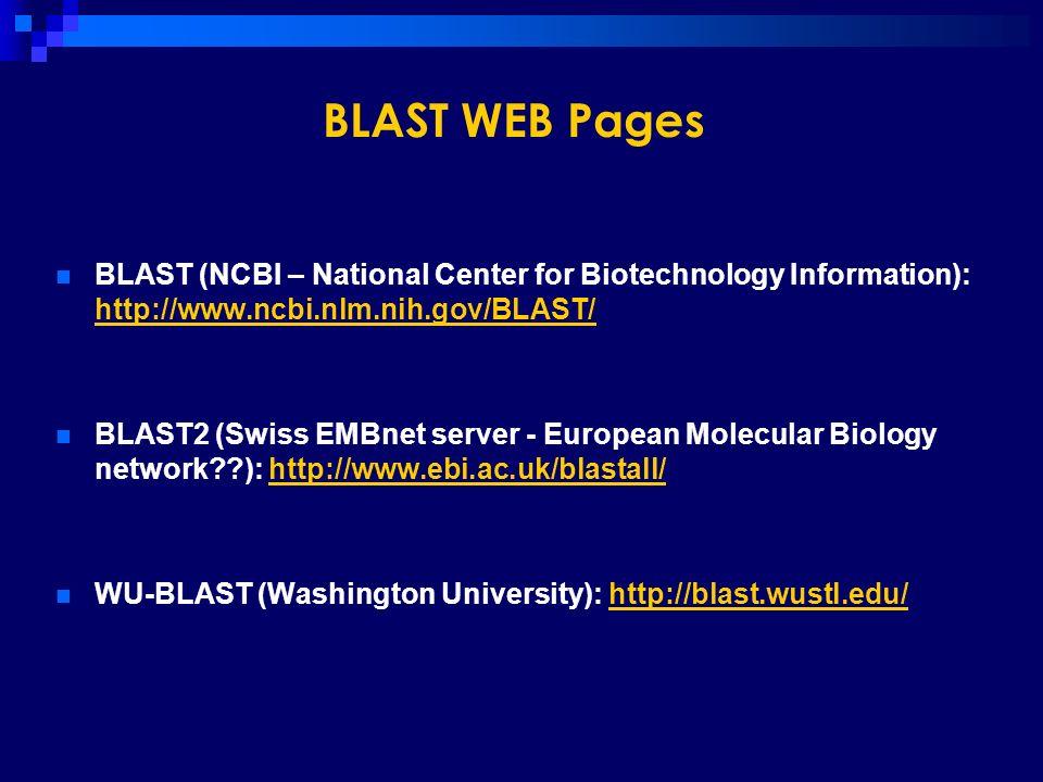 BLAST WEB Pages BLAST (NCBI – National Center for Biotechnology Information): http://www.ncbi.nlm.nih.gov/BLAST/ http://www.ncbi.nlm.nih.gov/BLAST/ BL