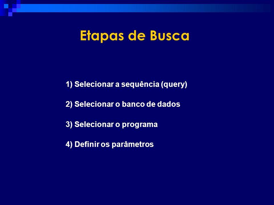 Etapas de Busca 1) Selecionar a sequência (query) 2) Selecionar o banco de dados 3) Selecionar o programa 4) Definir os parâmetros