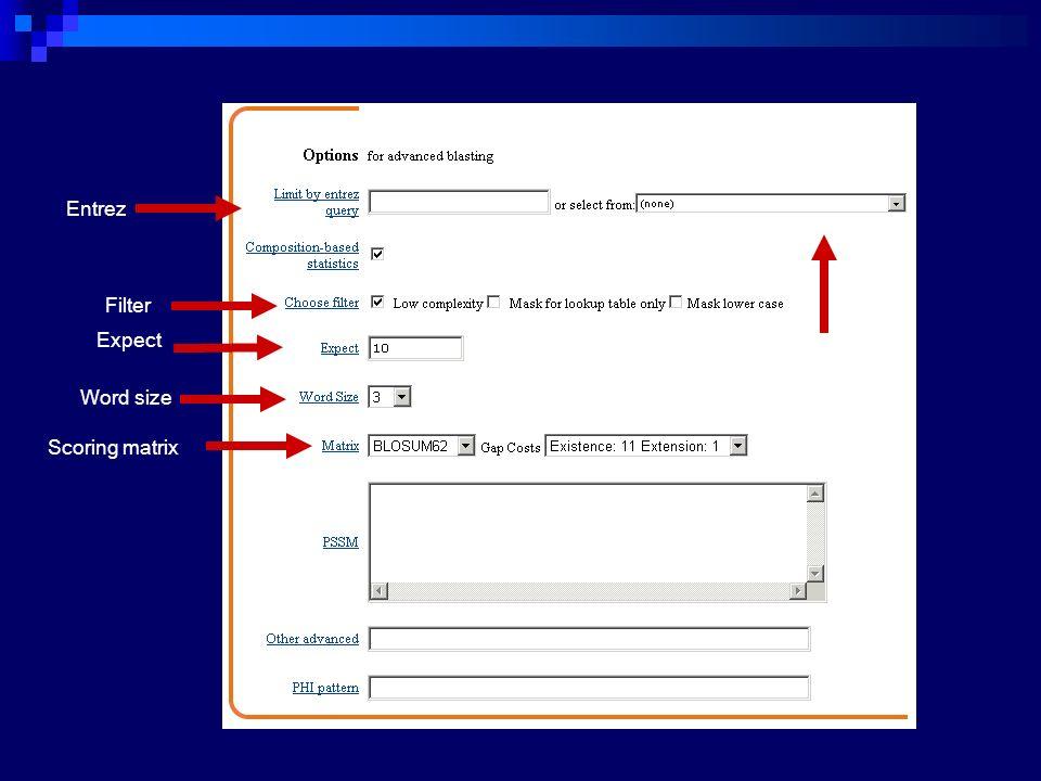 Entrez Filter Scoring matrix Word size Expect organism