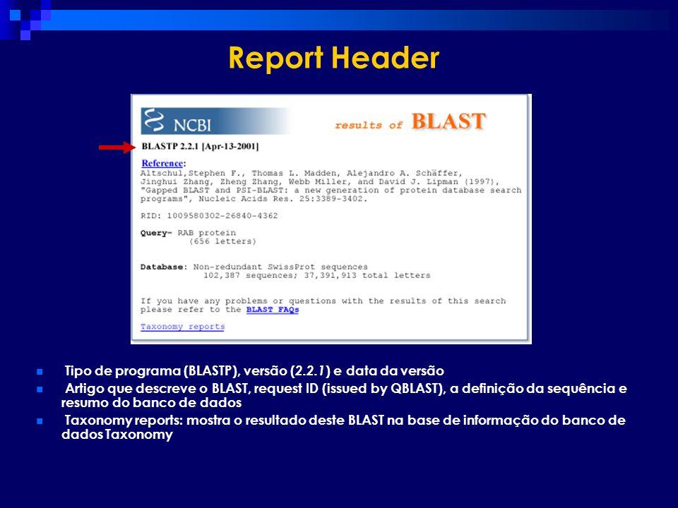 Report Header Tipo de programa (BLASTP), versão ( 2.2.1 ) e data da versão Artigo que descreve o BLAST, request ID (issued by QBLAST), a definição da