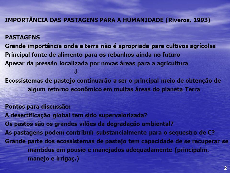2 IMPORTÂNCIA DAS PASTAGENS PARA A HUMANIDADE (Riveros, 1993) PASTAGENS Grande importância onde a terra não é apropriada para cultivos agrícolas Princ