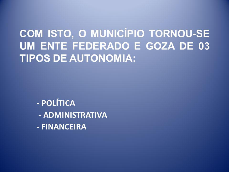 COM ISTO, O MUNICÍPIO TORNOU-SE UM ENTE FEDERADO E GOZA DE 03 TIPOS DE AUTONOMIA: - POLÍTICA - ADMINISTRATIVA - FINANCEIRA