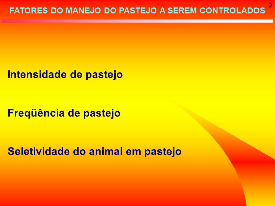 2 FATORES DO MANEJO DO PASTEJO A SEREM CONTROLADOS Intensidade de pastejo Freqüência de pastejo Seletividade do animal em pastejo