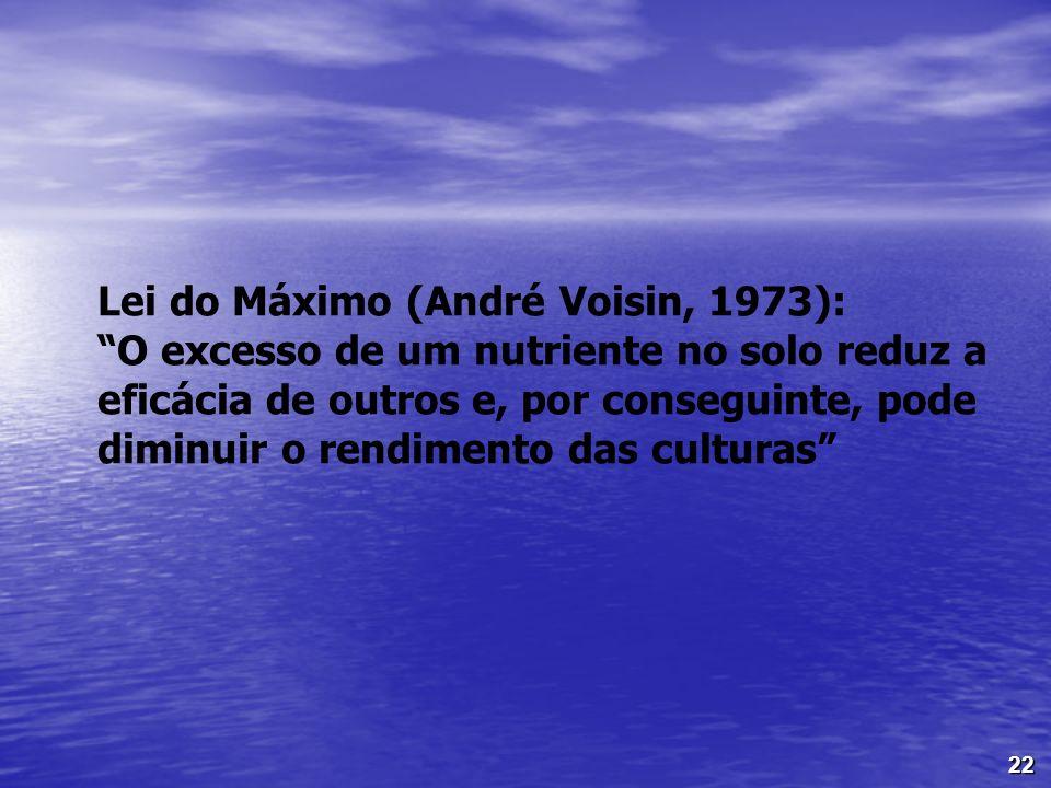 22 Lei do Máximo (André Voisin, 1973): O excesso de um nutriente no solo reduz a eficácia de outros e, por conseguinte, pode diminuir o rendimento das