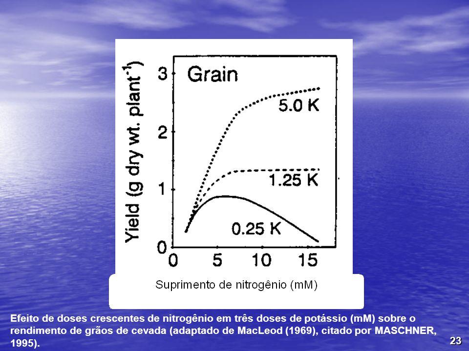 23 Efeito de doses crescentes de nitrogênio em três doses de potássio (mM) sobre o rendimento de grãos de cevada (adaptado de MacLeod (1969), citado p