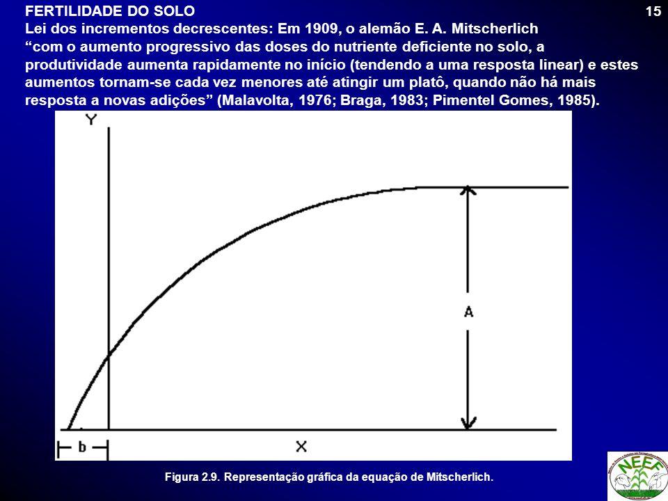 15 FERTILIDADE DO SOLO Lei dos incrementos decrescentes: Em 1909, o alemão E. A. Mitscherlich com o aumento progressivo das doses do nutriente deficie