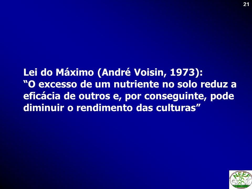 21 Lei do Máximo (André Voisin, 1973): O excesso de um nutriente no solo reduz a eficácia de outros e, por conseguinte, pode diminuir o rendimento das