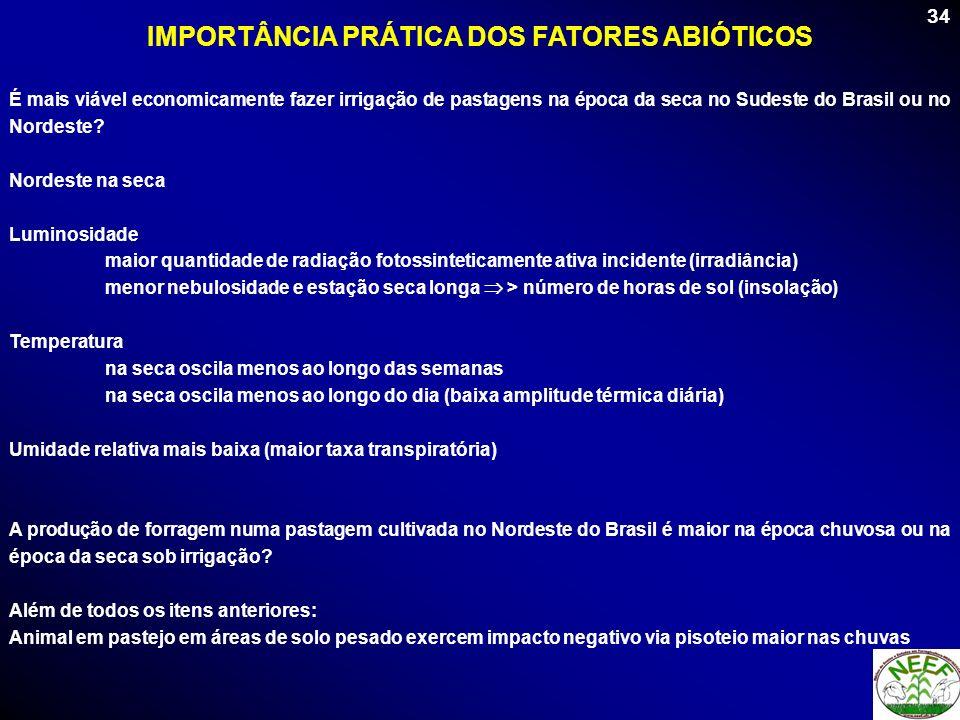 34 É mais viável economicamente fazer irrigação de pastagens na época da seca no Sudeste do Brasil ou no Nordeste? Nordeste na seca Luminosidade maior