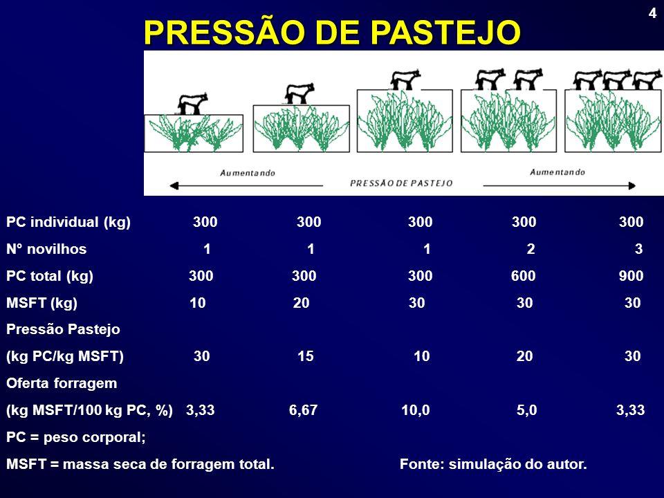 4 PRESSÃO DE PASTEJO PC individual (kg) 300 300 300 300 300 N° novilhos 1 1 1 2 3 PC total (kg) 300 300 300 600 900 MSFT (kg) 10 20 30 30 30 Pressão P