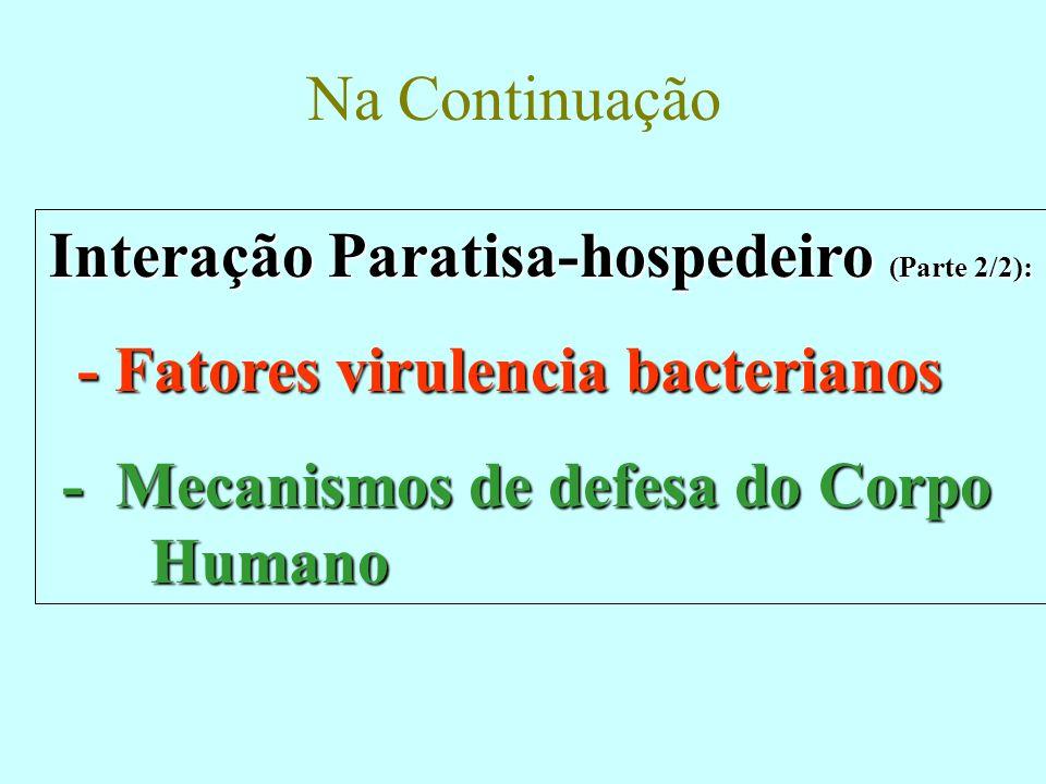 Na Continuação Interação Paratisa-hospedeiro (Parte 2/2): - Fatores virulencia bacterianos - Fatores virulencia bacterianos - Mecanismos de defesa do