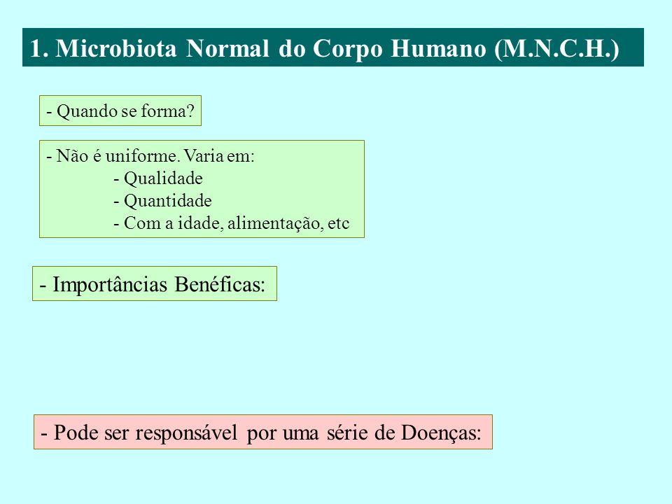 1. Microbiota Normal do Corpo Humano (M.N.C.H.) - Quando se forma? - Não é uniforme. Varia em: - Qualidade - Quantidade - Com a idade, alimentação, et