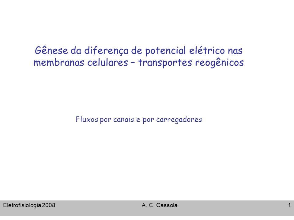 Eletrofisiologia 2008A. C. Cassola1 Gênese da diferença de potencial elétrico nas membranas celulares – transportes reogênicos Fluxos por canais e por