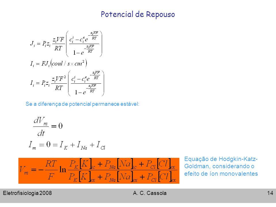 Eletrofisiologia 2008A. C. Cassola14 Potencial de Repouso Se a diferença de potencial permanece estável: Equação de Hodgkin-Katz- Goldman, considerand