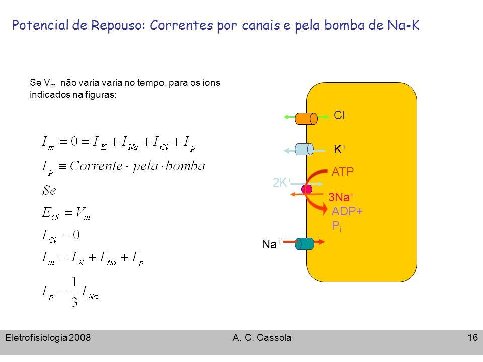 Eletrofisiologia 2008A. C. Cassola16 Potencial de Repouso: Correntes por canais e pela bomba de Na-K ATP 3Na + 2K + ADP+ P i Cl - K+K+ Na + Se V m não