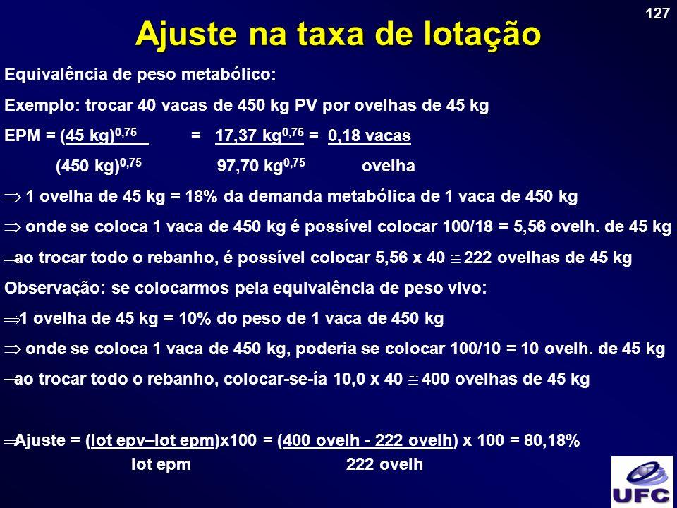 127 Ajuste na taxa de lotação Equivalência de peso metabólico: Exemplo: trocar 40 vacas de 450 kg PV por ovelhas de 45 kg EPM = (45 kg) 0,75 = 17,37 k