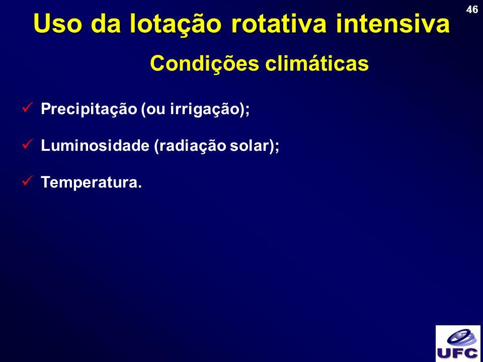 46 Uso da lotação rotativa intensiva Condições climáticas Precipitação (ou irrigação); Luminosidade (radiação solar); Temperatura.