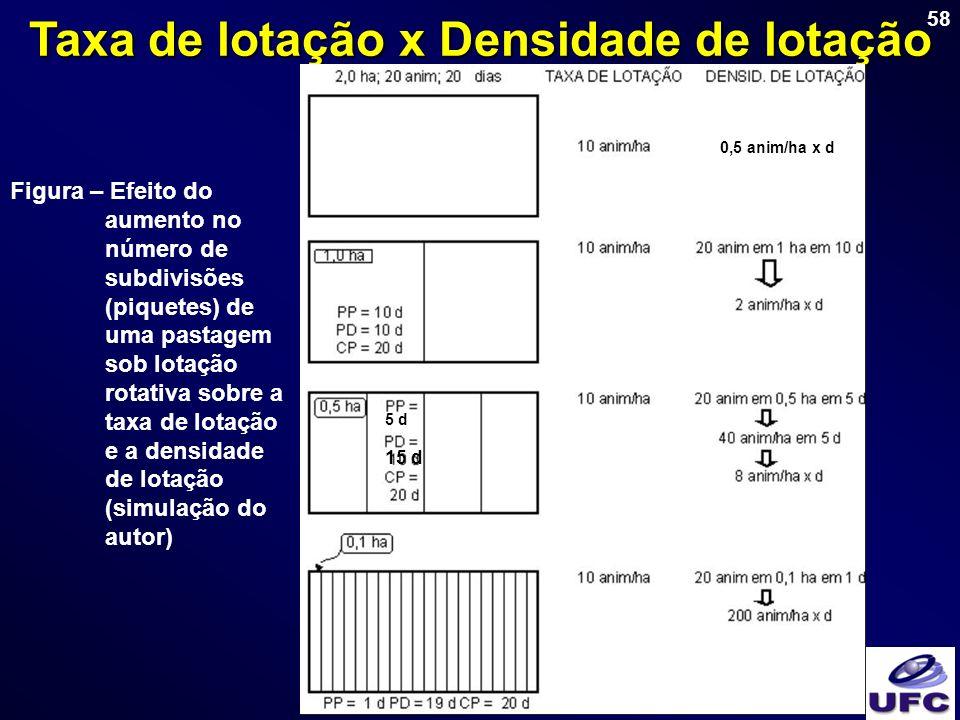 58 Taxa de lotação x Densidade de lotação Figura – Efeito do aumento no número de subdivisões (piquetes) de uma pastagem sob lotação rotativa sobre a